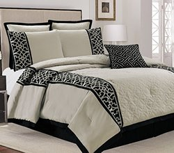 "Lazio 7-Piece 86""x 86"" Quilted Embroidery Comforter Set - Beige - Size: Q"