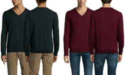 Ben Sherman Men's Solid V Neck Sweater - Black Pine Marl - Size: Large