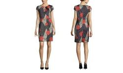 Emploi Women's Cap Sleeve Sheath Dress - Rose Print - Size: XS
