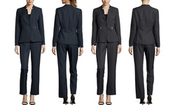 Tahari Star Collar Pinstripe Pant Suit - Black-White - Size: 10