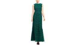 Tadashi Shoji Boat Neck Embroidery Gown - Deep Emerald/Black - Size: 6
