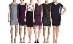 Scarlett Women's Metallic Boucle Cap Short Sleeve Dress - Black - Size: 8