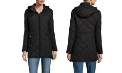 Women's Quilted Hooded Walker with Faux Fur Lining - Hunter - Size: Large