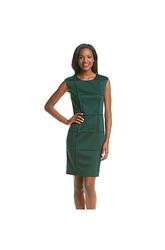 London Times Women's Sleeveless Piping Sheath Dress - Emerald - Size: 12