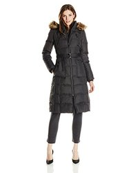 Kensie Maxi Down Coat with Faux Fur Trim - Charcoal - Size: Small
