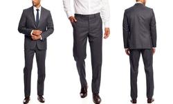 Vince Camuto Men's Slim Fit 2-Piece Suit - Medium Charcoal - Size: 40R/33W