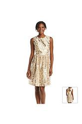 Chetta B. Sleeveless Metallic Printed Fit & Flare Dress - Ivory/Gold - 16
