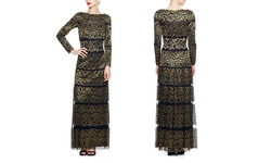 Tadashi Shoji Women's Metallic Stripe Gown - Black/Gold - Size: 4