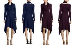 Nina Leonard Hankerchief Hem Sweater Dress - Aubergine - Size: Small