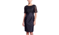 Alex Evenings Lace Overlay Cocktail Dress - Black - Size: 4