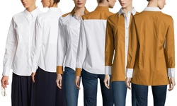 Paperwhite Long Sleeve Colorblock Deco Shirt - White - Size: 12