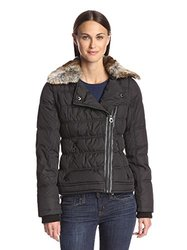 Laundry By Design Women's Asymmetric Puffer Jacket - Black - Size: Large