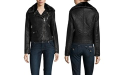 BCBGeneration Women's Faux Leather Moto Jacket - Black - Size: Large