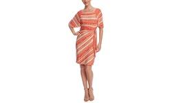 Tahari Arthur S. Levine Women's Printed Dress - Khaki/Tangerine - Size: 4