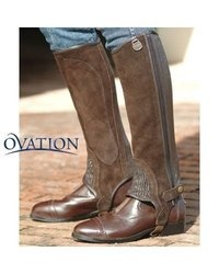 Ovation - Child Suede Ribbed Half Chaps , Brown , 16-18