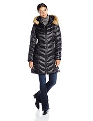 Dawn Levy Women's Abby Faux Fur Trim Puffer Coat - Black - Size: XS