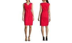 Tahari Arthur S. Levine Sleeveless V-Neck Dress - Scarlet - Size: 8