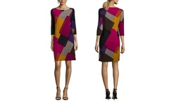 Nine West Women's Hatchi Long Sleeve Sheath Dress - Multi - Size: M