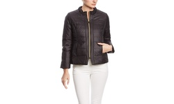 T Tahari Women's Ashley Quilted Long Jacket With Hood - Pebble - Size: XS