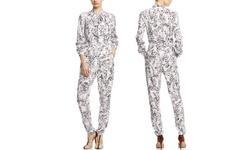 Marchesa Voyage Tie Neck Jumpsuit - Floral Combo - Size: 4