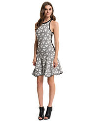 1 State Women's Sleeveless Jacquard Flare Dress - Rich Black - Size: M