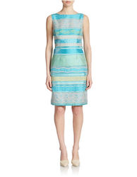 Chetta B Women's Jacquard Shift Dress - Dirty Blue - Size: 12