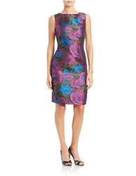 Chetta B Women's Floral Print Boatneck Sheath Dress - Royal - Size: 4