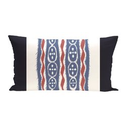E By Design Ikat Ribbon Stripes Print Outdoor Seat Cushion