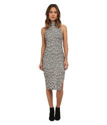 Free People Easy Squeezy Knit Midi Dress - Ivory/Black - Size: Large