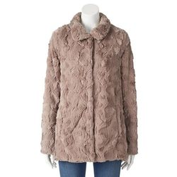Weatherproof Women's Faux Fur Jacket - Mushroom - Size: Large