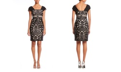 Sue Wong Cap Sleeve Empire Waist Cocktail Dress - Black - Size: 8