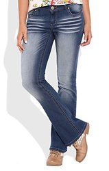 Deb Junior's Reign Low Rise Bootcut Jean with Whisker - D Denim - Size: 0R
