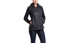 Guess Women's Double Breated Quilted Peacoat - Navy - Size: Large