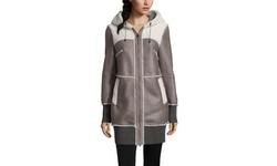 Pasha Veneto Women's Toscana Fur Trim Suede Coat - Grey - Size: Medium