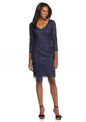 Adrianna Papell Women's V-Neck Lace Cocktail Dress - Navy - Size: 8