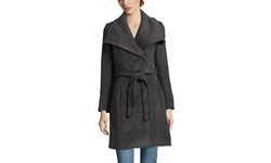 T Tahari Women's Mia Wool Belted Coat with Collar - Poppy - Size: 12