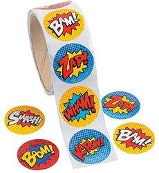 Superhero Sticker Roll - 100 pc