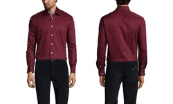 Brio Milano Men's Gingham Trim Sport Shirt - Merlot - Size: Large
