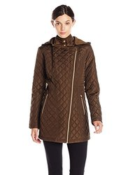 Jessica Simpson Asymmetrical Zip Quilt with Hood - Olive - Size: XS