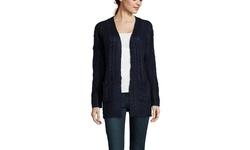 Olive & Oak Women's Long Sleeve Open Cardigan - Black Combo - Size: Small