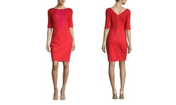 Laundry By Shelli Segal Women's Elbow Sleeve Ponte Dress - Red - Size: 0