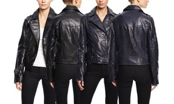 Soia & Kyo Women's Leather Jacket with Zipper Details - Black - Size: XS