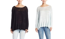 Free People Women's 'Kristobel' Ruffled Top Sweater - Black - Size: XS