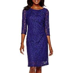 Scarlett Women's Glitter Lace Sheath Dress - Purple