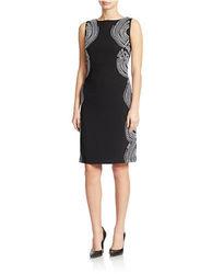 Chetta B Women's Embroidered Sheath Dress - Black/White