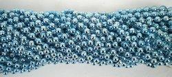 33 inch 7mm Round Metallic Light Blue Mardi Gras Beads - 6 Dozen (72 necklaces)