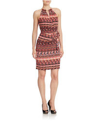 Jessica Simpson Women's Halter Printed Wrap Dress - Red Print - Size: 10