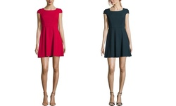 French Women's Cap-Sleeve Fit & Flare Dress - Berry Punch - Size: 4