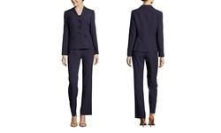 Le Suit Women's Three Button Two Tone Pant Suit - Dark Plum - Size: 8