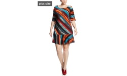 Robbie Bee Women's Elbow Sleeve Drop Waist Dress - Black/Rust - Size: 1X